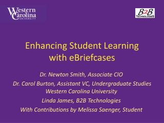 Enhancing Student Learning  with eBriefcases