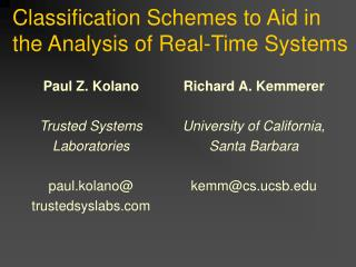 Classification Schemes to Aid in the Analysis of Real-Time Systems