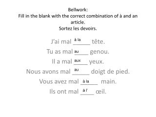Bellwork: Fill in the blank with the correct combination of � and an article. Sortez les devoirs.