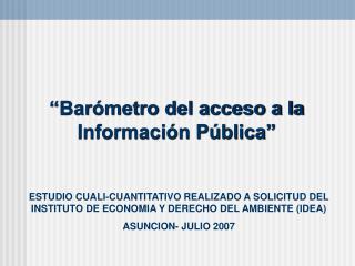 """""""Barómetro del acceso a la Información Pública"""""""