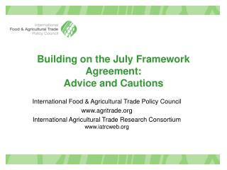 Building on the July Framework Agreement:  Advice and Cautions