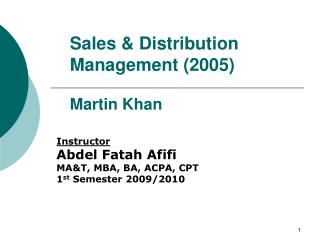 Sales & Distribution Management (2005) Martin Khan