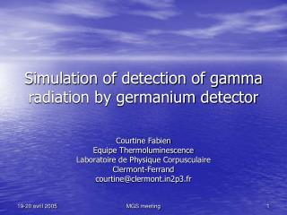 Simulation of detection of gamma radiation by germanium detector