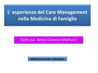L' esperienza del Care Management nella Medicina di Famiglia