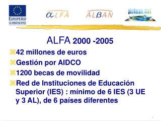 ALFA  2000 -2005 42 millones de euros Gestión por AIDCO 1200 becas de movilidad
