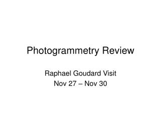 Photogrammetry Review