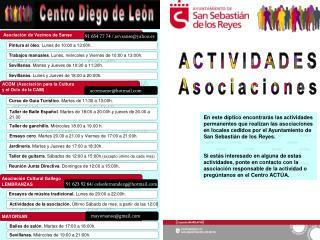 Actividades de la asociación.  Último Sábado de mes, a partir de las 12:00