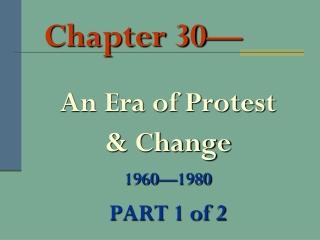 SSUSH24 The student will analyze the impact of social change movements and organizations of the 1960s.