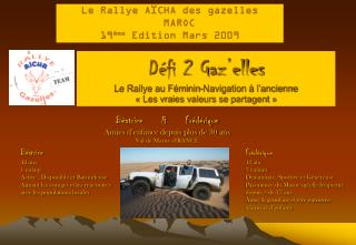 D�fi 2 Gaz�elles Le Rallye au F�minin-Navigation � l�ancienne  ��Les vraies valeurs se partagent��