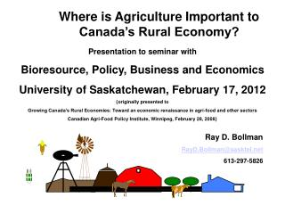 Where is Agriculture Important to Canada's Rural Economy?