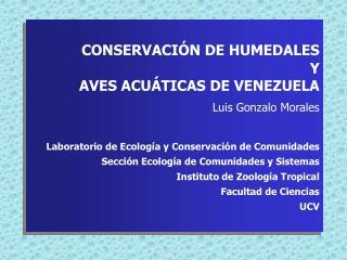 CONSERVACIÓN DE HUMEDALES Y  AVES ACUÁTICAS DE VENEZUELA Luis Gonzalo Morales
