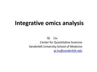 Integrative omics analysis