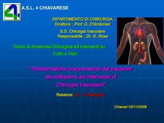 DIPARTIMENTO DI CHIRURGIA Direttore : Prof. G. DAmbrosio  S.S. Chirurgia Vascolare Responsabile : Dr. G. Rosa