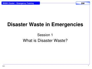 Disaster Waste in Emergencies
