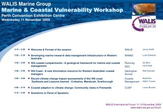 WALIS Marine Group Marine & Coastal Vulnerability Workshop Perth Convention Exhibition Centre
