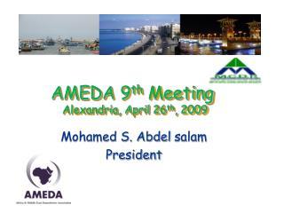 AMEDA 9th Meeting  Alexandria, April 26th, 2009