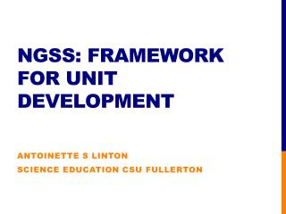 NGSS: framework for unit development