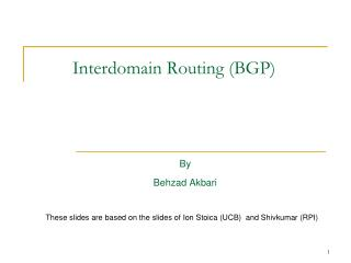 Interdomain Routing (BGP)