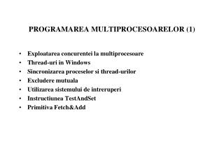 P ROGRAMAREA MULTIPROCESOARELOR (1)
