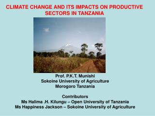 CLIMATE CHANGE AND ITS IMPACTS ON PRODUCTIVE SECTORS IN TANZANIA