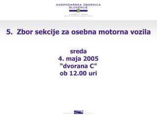 5.  Zbor sekcije za osebna motorna vozila