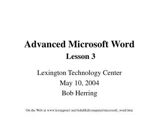 Advanced Microsoft Word Lesson 3