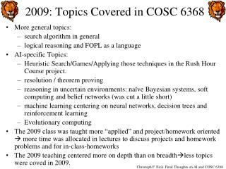 2009: Topics Covered in COSC 6368