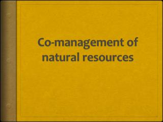 Co-management of natural resources