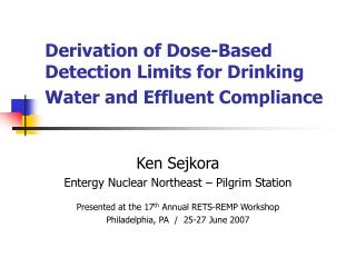 Derivation of Dose-Based Detection Limits for Drinking Water and ...