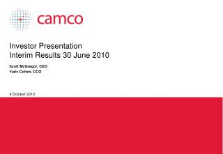 Investor Presentation Interim Results 30 June 2010