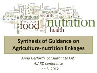 Synthesis of Guidance on Agriculture-nutrition linkages