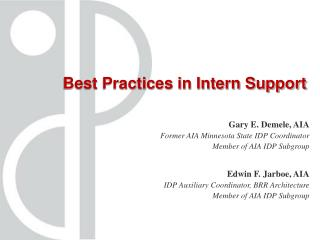 Best Practices in Intern Support