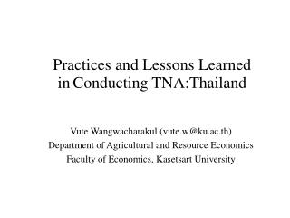 Practices and Lessons Learned  in Conducting TNA : Thailand