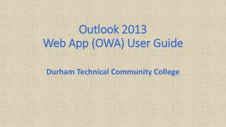 Outlook 2013 Web App (OWA) User Guide
