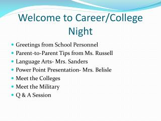 Welcome to Career/College Night