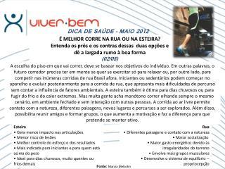 DICA DE SAÚDE – MAIO 2012