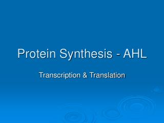 Protein Synthesis - AHL