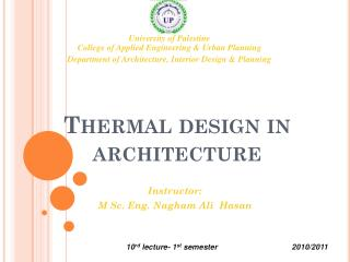 Thermal design in architecture