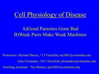 Cell Physiology of Disease A)Good Parasites Gone Bad   B)Weak Parts Make Weak Machines