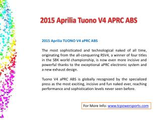 2015 Aprilia Tuono V4 APRC ABS - Temple City Powersports