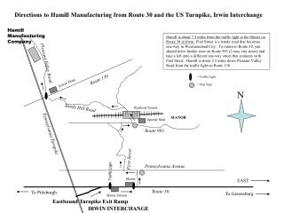 Directions to Hamill Manufacturing from Route 30 and the US Turnpike, Irwin Interchange