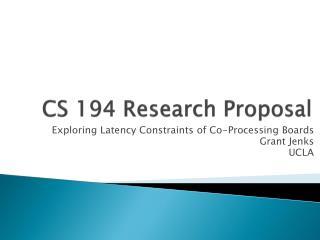 CS 194 Research Proposal