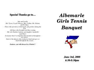 Albemarle Girls Tennis Banquet