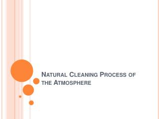 Natural Cleaning Process of the Atmosphere