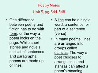 Poetry Notes Unit 5, pg. 544-548