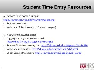 Student Time Entry Resources