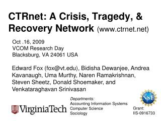 CTRnet: A Crisis, Tragedy, & Recovery Network (ctrnet)