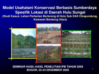 Model Usahatani Konservasi Berbasis Sumberdaya  Spesifik Lokasi di Daerah Hulu Sungai