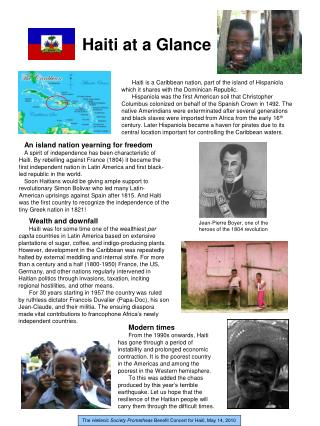 Haiti at a Glance