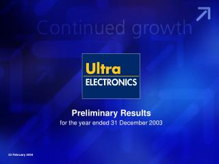 Preliminary Results for the year ended 31 December 2003